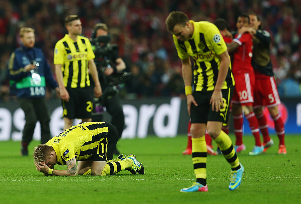 Aus! Mit dem Schlusspfiff am 25. Mai 2013 in Wembley ist für Marco Reus (l.), Kevin Großkreutz und Borussia Dortmund die große Chance auf den Champions-League-Titel dahin. (Photo by Alex Grimm/Getty Images)