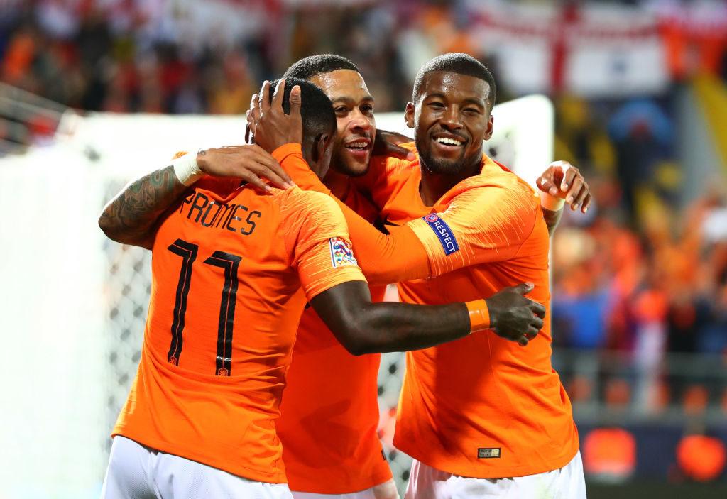 Quincy Promes, Memphis Depay und Georginio Wijnaldum (v. l.) feiern den dritten Treffer im UEFA Nations League-Halbfinale gegen England.