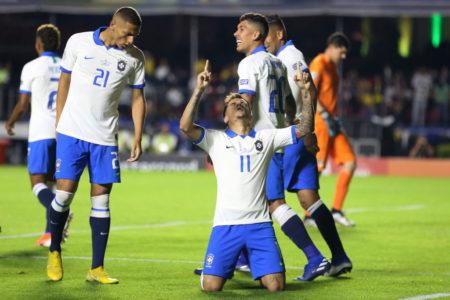 Philippe Coutinho bejubelt seinen ersten Treffer für Brasilien beim 3:0 gegen Bolivien im Eröffnungsspiel der Copa América 2019 im eigenen Land.
