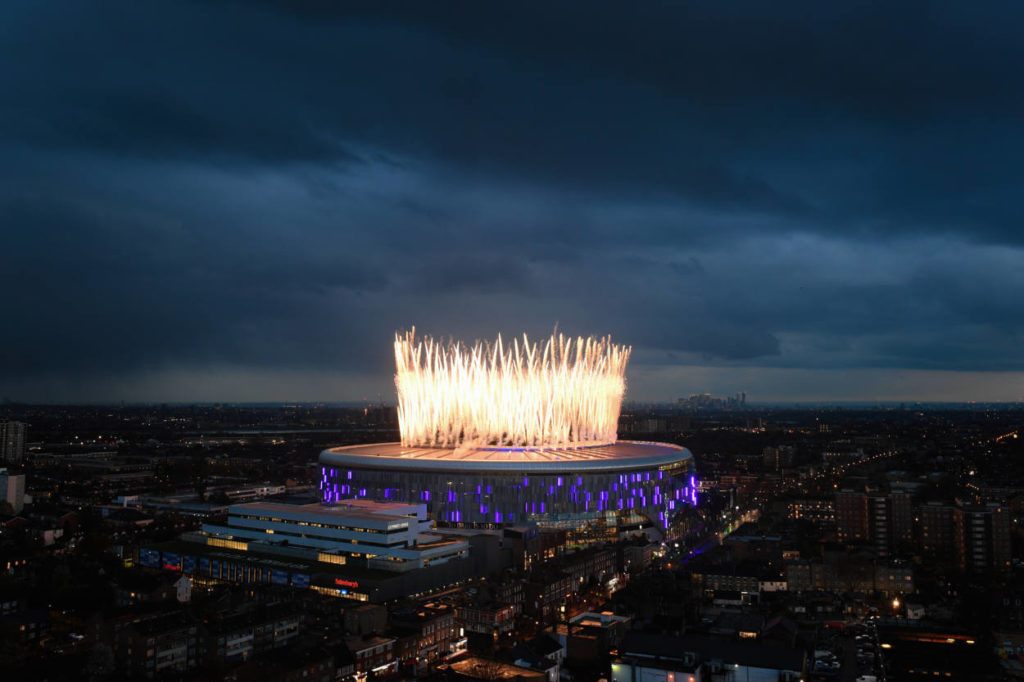 LONDON, ENGLAND - APRIL 03: Fireworks explode above the new Tottenham Hotspur Stadium ahead of the Premier League match between Tottenham Hotspur and Crystal Palace at Tottenham Hotspur Stadium on April 03, 2019 in London, United Kingdom.