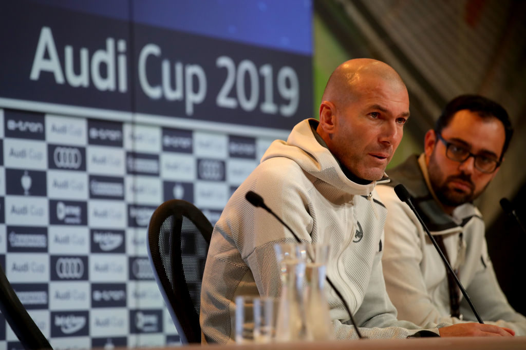 MUNICH, GERMANY - JULY 31: Zinedine Zidane, head coach of Real Madrid, speaks during the press conference after the Audi cup 2019 3rd place match between Real Madrid and Fenerbahce at Allianz Arena on July 31, 2019 in Munich, Germany.