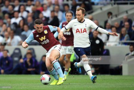 John McGinn of Aston Villa is challenged by Christian Eriksen of Tottenham Hotspur