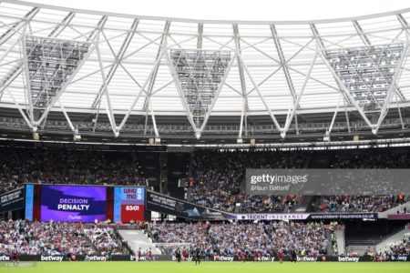 General view inside the stadium where the big screen shows a VAR review has resulted in Manchester City being awarded a penalty