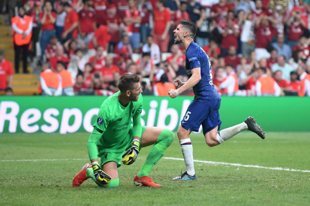 ISTANBUL, TURKEY - AUGUST 14: Jorginho of Chelsea celebrates after scoring his team's second goal from the penalty spot during the UEFA Super Cup match between Liverpool and Chelsea at Vodafone Park on August 14, 2019 in Istanbul, Turkey. (Photo by Michael Regan/Getty Images)