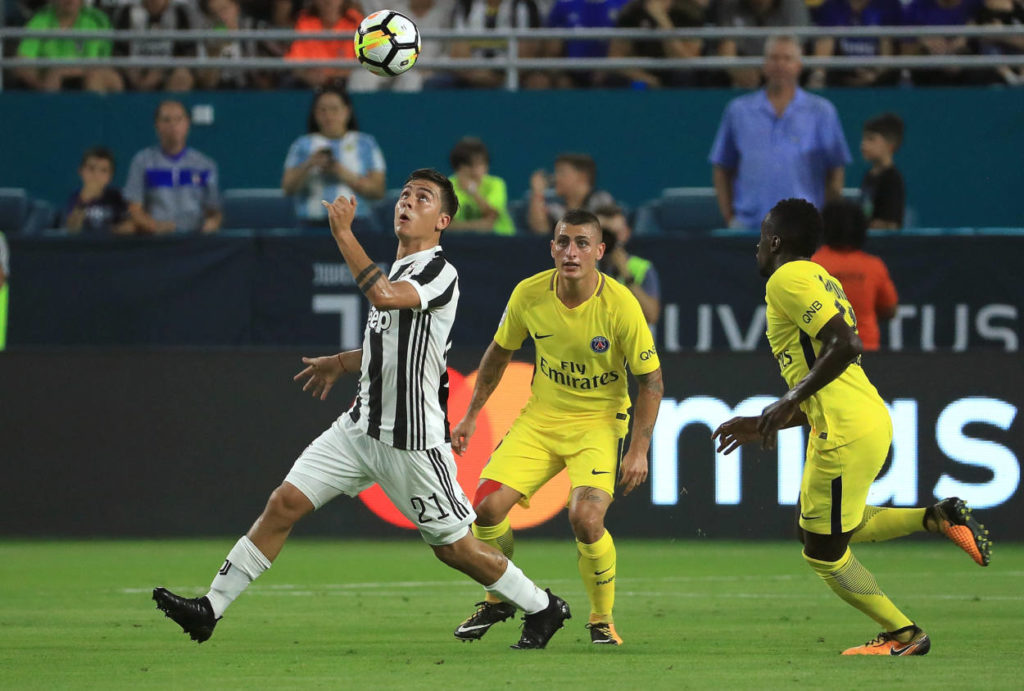 Paulo Dybala #21 of Juventus heads the ball during the International Champions Cup 2017 match against the Paris Saint-Germain