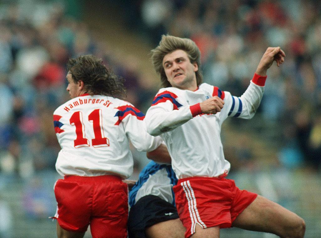 Die SG Wattenscheid - hier bei einem 0:0 am 6. April 1991 in Hamburg (mit Thomas Doll und Dietmar Beiersdorfer), konnte sich dank der Steilmann-Millionen 4 Jahre in der Bundesliga halten.