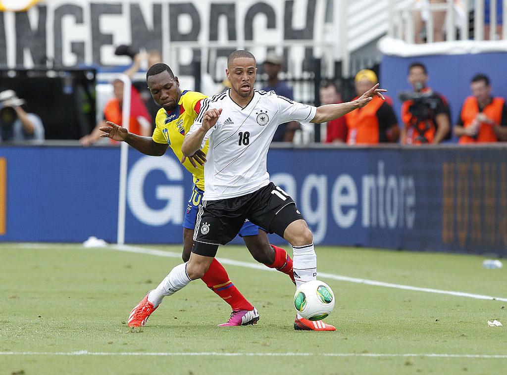 Sidney Sam in einem seiner 5 Länderspiele für Deutschland, am 29. Mai 2013 während der USA-Reise gegen Ecuador (4:2) in Boca Raton im US-Bundesstaat Florida.