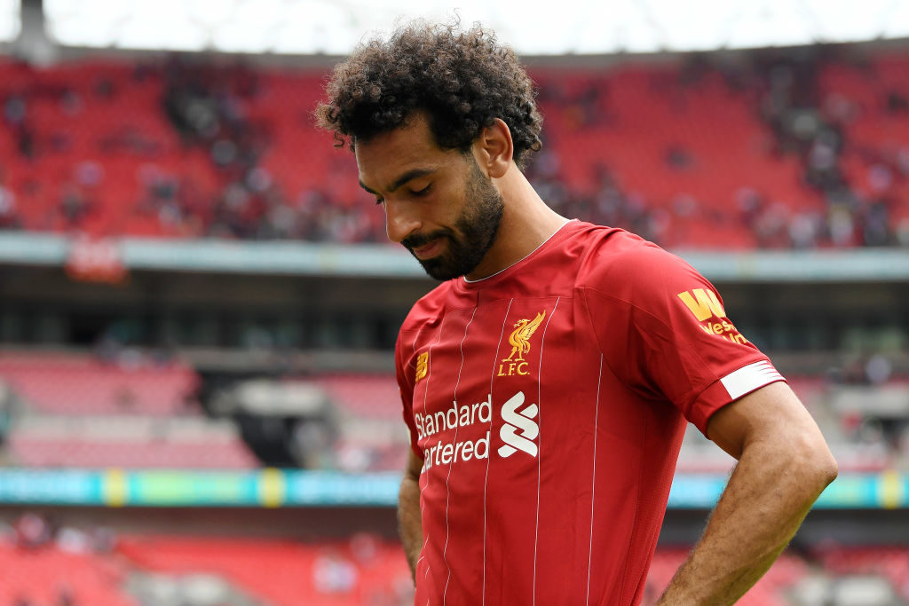 Liverpools Mo Salah nach dem verlorenen Community Shield Finale 2019 gegen Manchester City in Wembley.