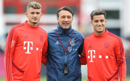 Niko Kovac and newly signed players Michael Cuisance and Philippe Coutinho