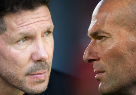 Diego Simeone of Club Atletico de Madrid (L) and Head coach Zinedine Zidane of Real Madrid