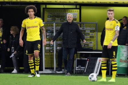 Borussia Dortmund Lucien Favre (m., mit Axel Witsel und Marco Reus) sind nach schwachem Saisonstart im Erklärungsnotstand.