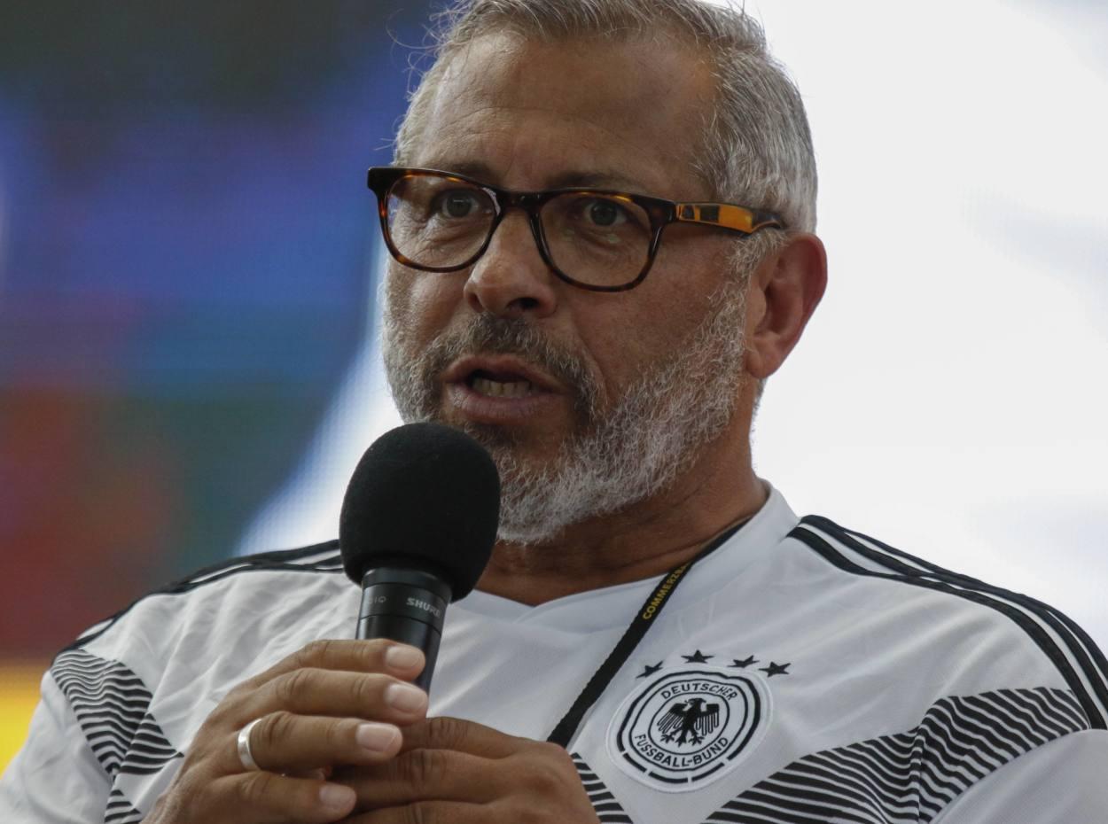 Engagiert und immer mit einem guten Spruch: So kennen und lieben die Fans Jimmy Hartwig, hier in Frankfurt während des WM-Spiels Deutschland - Südkorea (0:2).