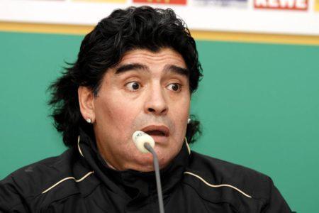 Alles Müller oder was? Diego Armando Maradona nach dem Länderspiel Deutschland gegen Argentinien am 3. März 2010 in München.