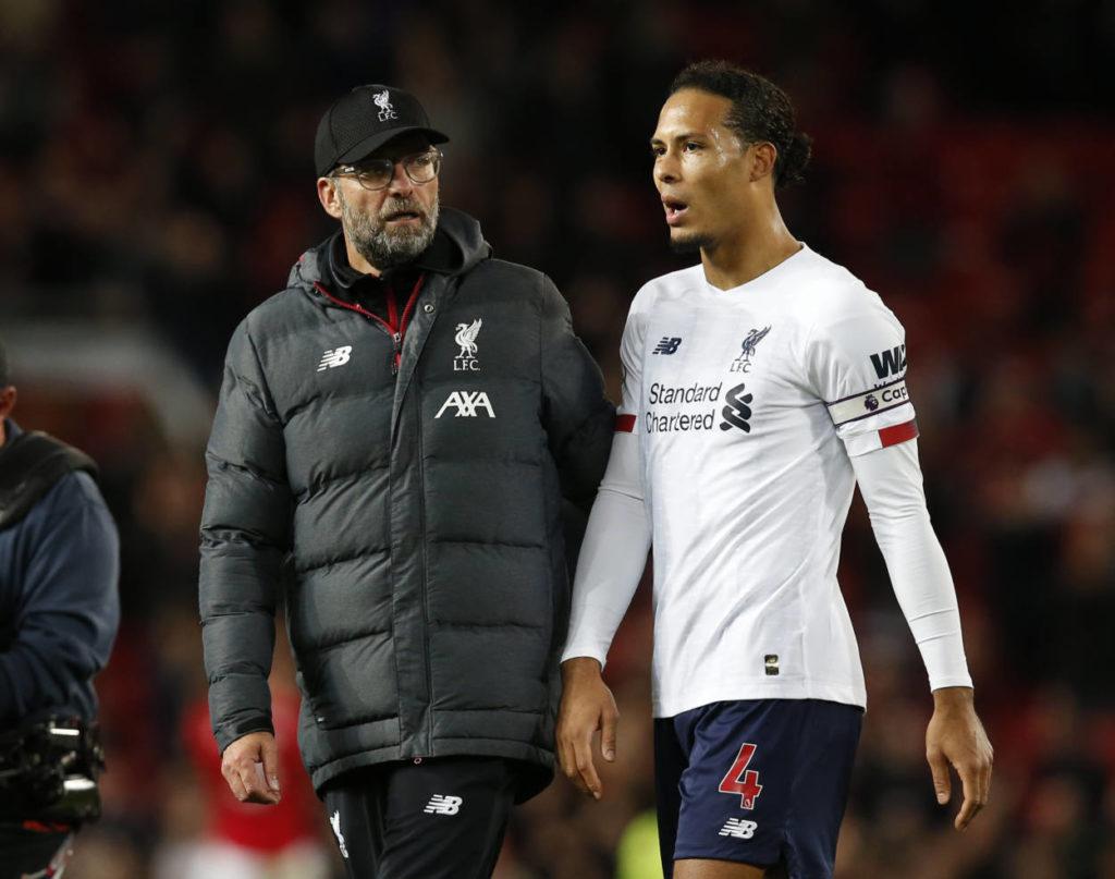 Jürgen Klopp und sein Abwehrchef Virgil van Dijk nach der Partie bei Manchester United (1:1).