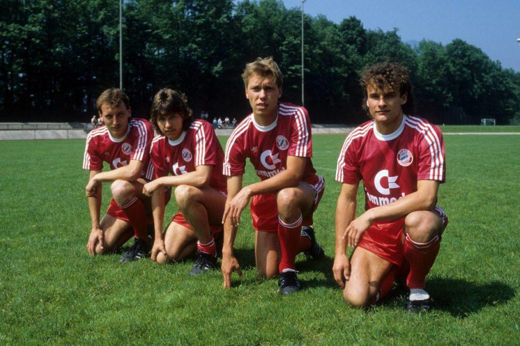 Die Neuzugänge des FC Bayern München im Sommer 1987: Uwe Tschiskale, Jürgen Wegmann, Uli Bayerschmidt und Armin Eck (v. l.). Eine Weltkarriere war keinem von ihnen beschieden...