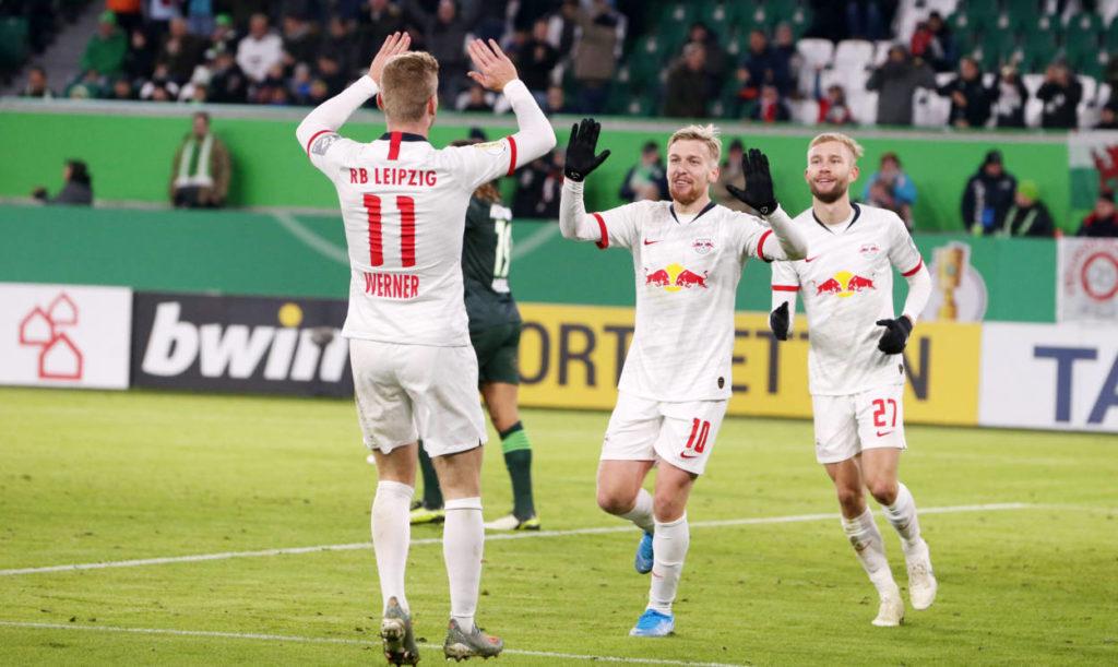 Manchester United and Chelsea transfer target Timo Werner celebrating a goal