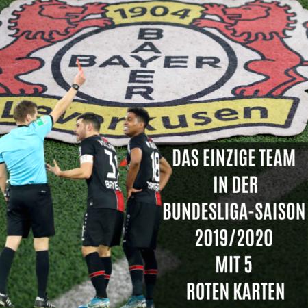 Das einzige Team in der Bundesliga in der Saison 2019/20 mit 5 Roten Karten - Stand Spieltag 21.