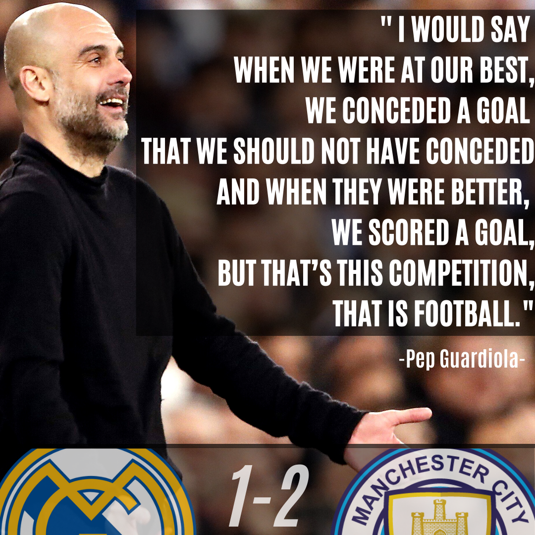 Pep Guardiola Quote On The UEFA Champions League Match Against Real Madrid  - LigaLIVE