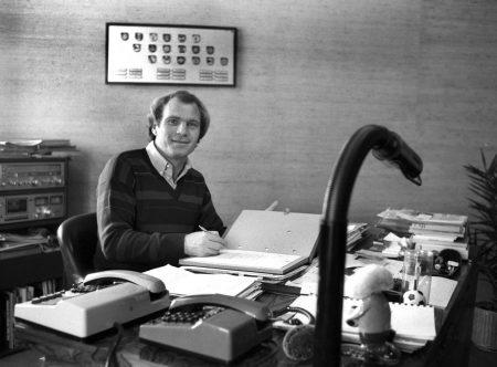 Der Arbeitsbeginn von Uli Hoeneß am 01. Mai 1979 als Manager von Bayern München.