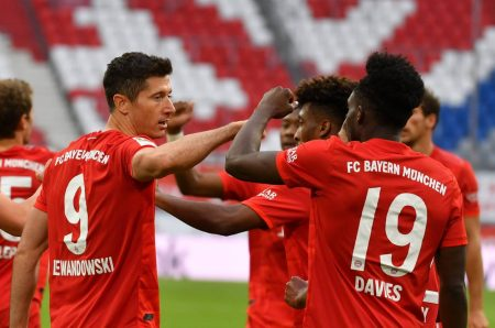 Robert Lewandowski scored twice as Bayern Munich edging closer to another Bundesliga title with a comfortable 5:0 win over Dusseldorf.
