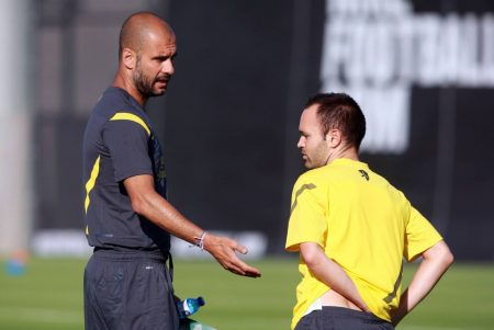 Former Barcelona playmaker Andres Iniesta reveals that he grew up watching Pep Guardiola and idolizes Man City boss as a manager.