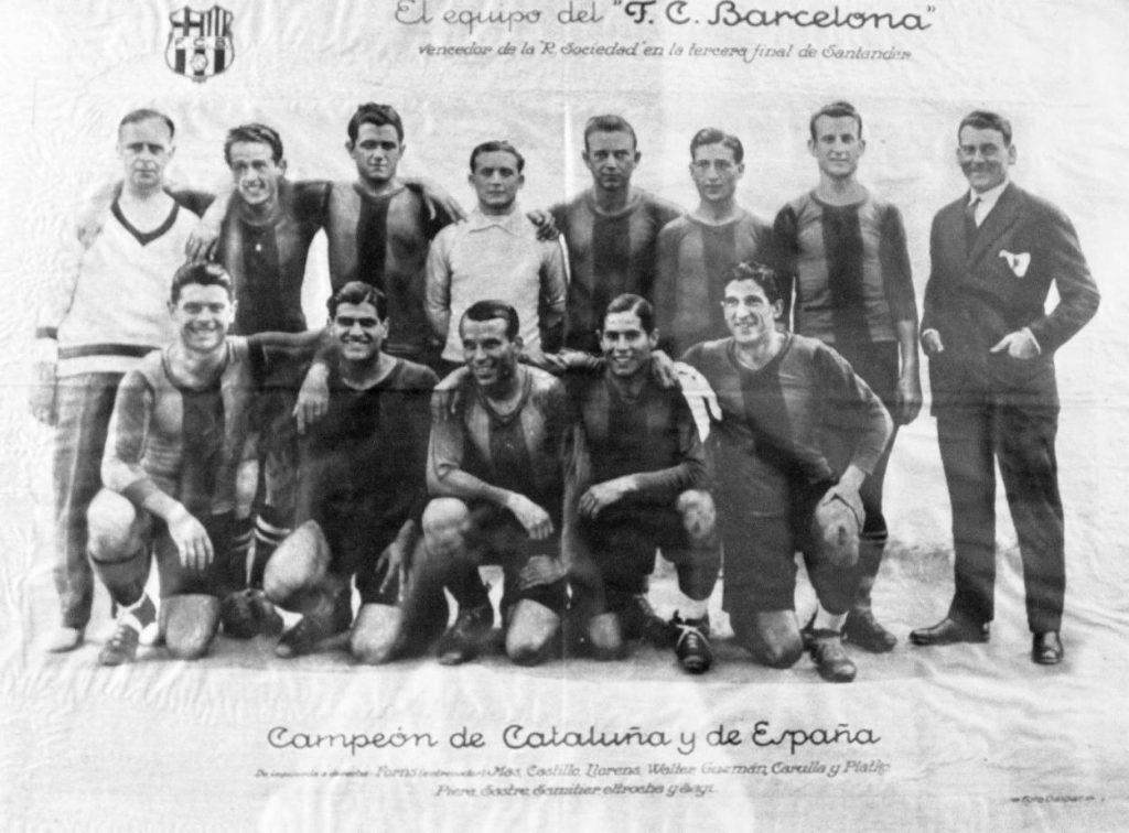 Die Meistermannschaft des FC Barcelona von 1928/29 mit Emil Walter.