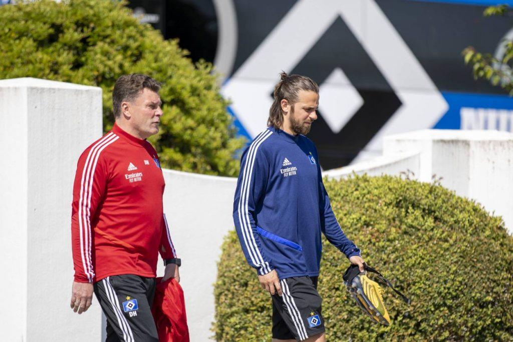 HSV-Stürmer Martin Harnik und Trainer Dieter Hecking (Hamburger SV)
