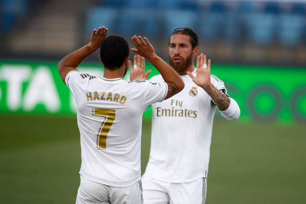 Eden Hazard returns after a prolonged injury as Real Madrid beat Eibar by 3:1. Sergio Ramos, Marcelo and Toni Kroos scored for the home side.
