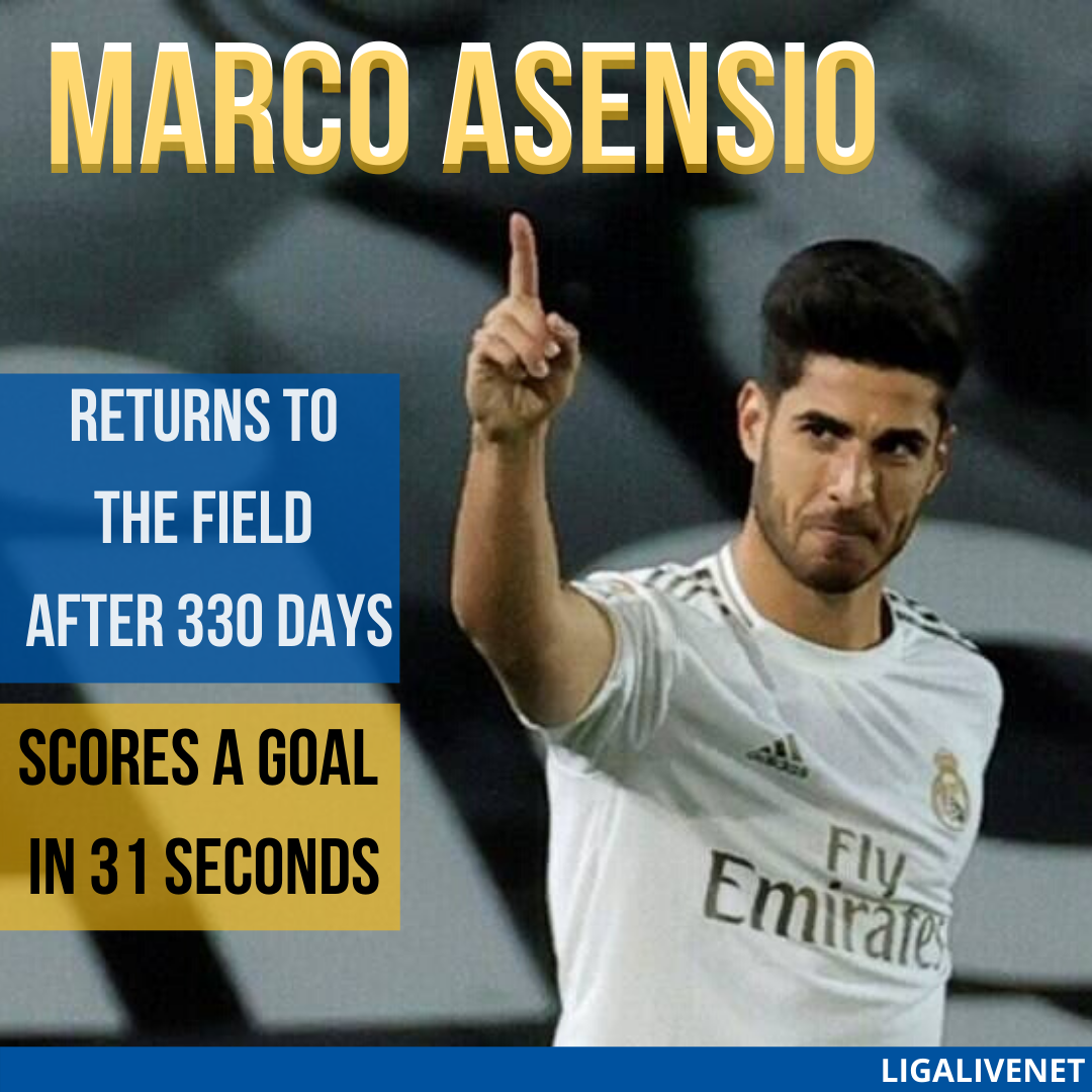 Marco Asensio returns to the field after 330 days and scores a goal in 31 seconds