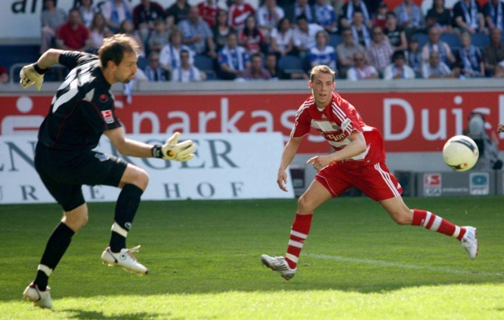 10. Mai 2008: Jan Schlaudraff (r., mit dem späteren Münchner Keeper Tom Starke) in seinem letzten Bundesliga-Spiel für den FC Bayern, 3:2 beim MSV Duisburg.