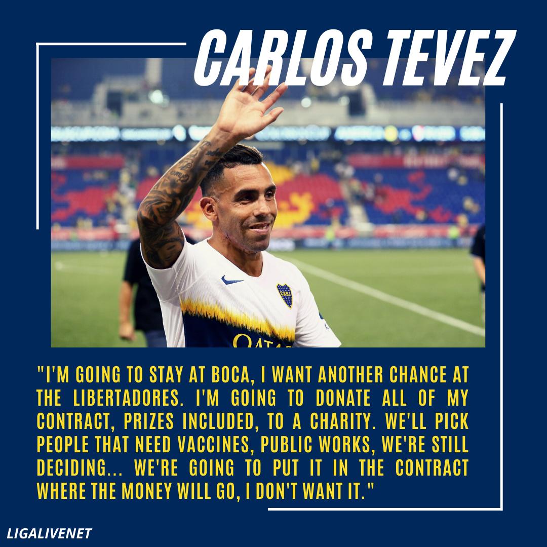 Carlos Tevez donates his earnings to charity