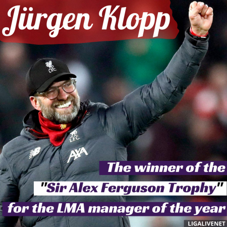 Klopp, winner of the Sir Alex Ferguson Trophy