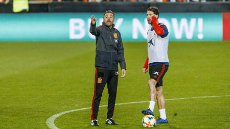 Spain head coach Luis Enrique praises captain Sergio Ramos after the center-back scored twice against Ukrine.