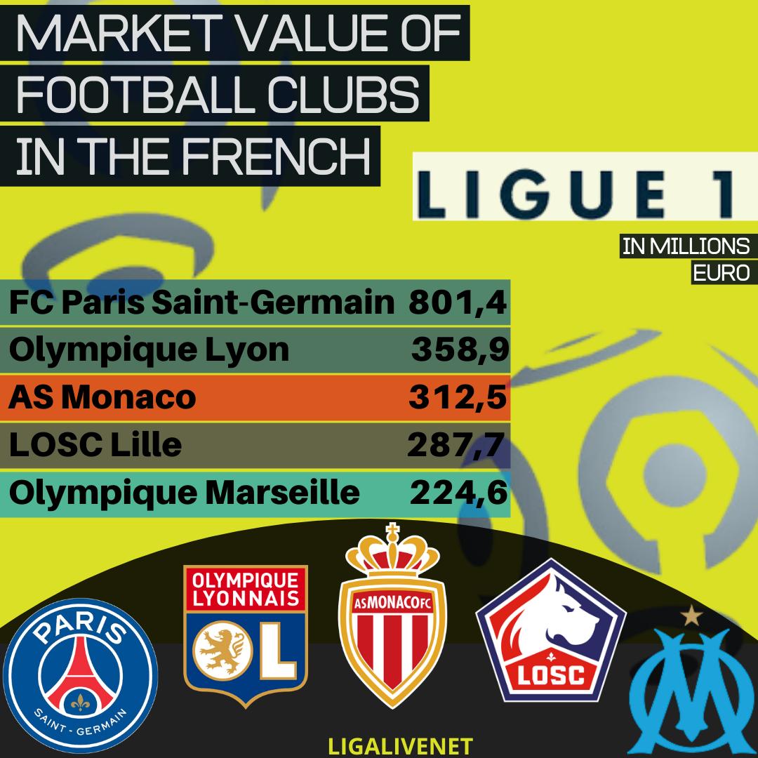Market value Ligue 1 clubs