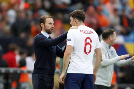 England head coach Gareth Southgate backs defender Harry Maguire as Man United center-back was sent off in the first half against Denmark.