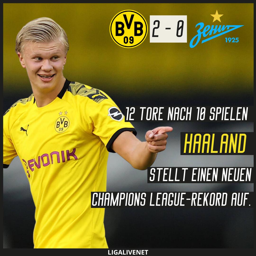 Mit 12 Toren nach 10 Spielen stellt Haaland einen neuen Rekord in der Champions League auf.