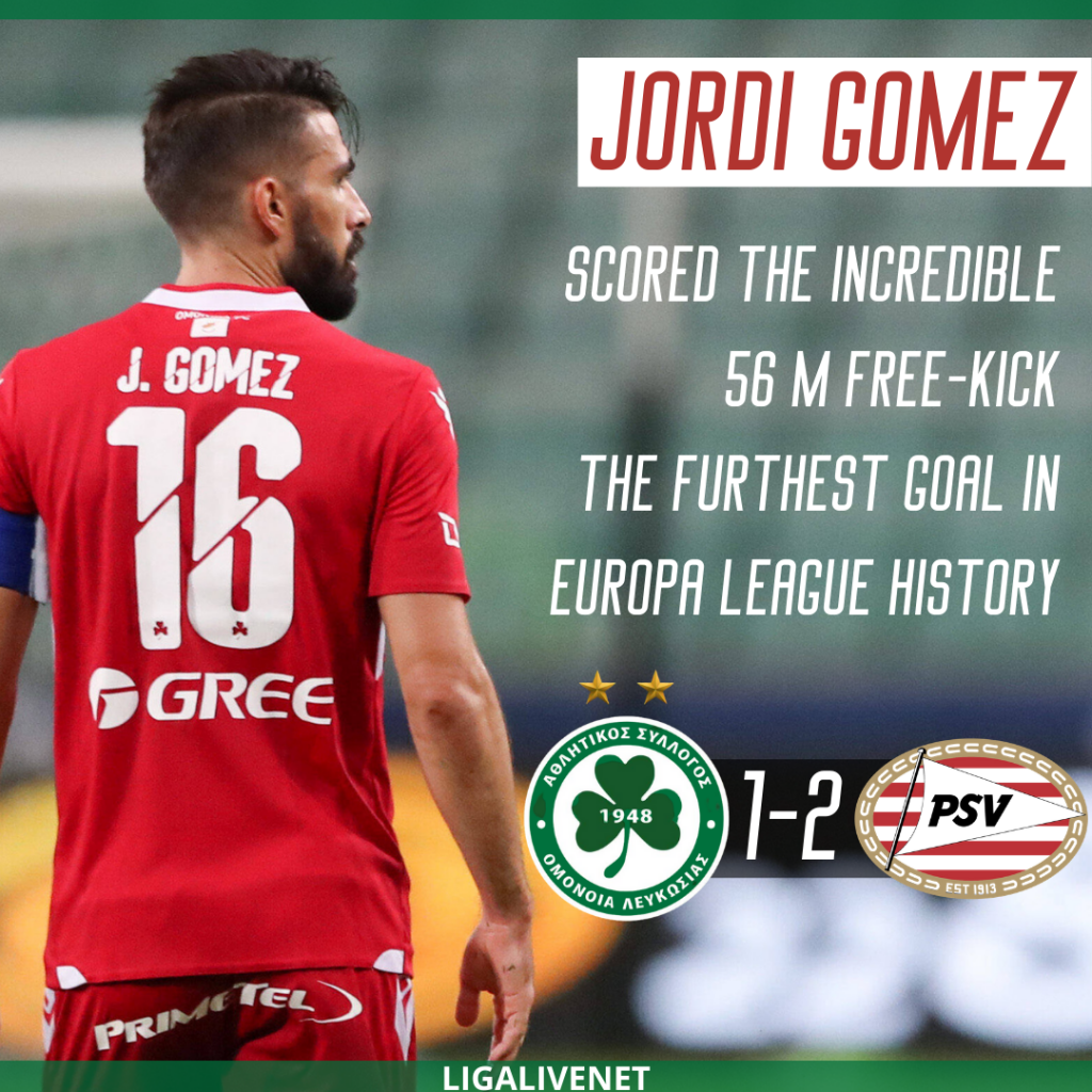 Jordi Gomez scored the furthest goal in Europa League history