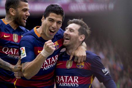 Dani Alves Luis Suarez Lionel Messi