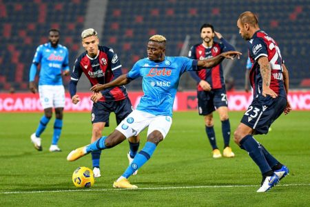 Victor Osimhen on target as Napoli beat Bologna 1-0 and climb third in Serie A, just three points behind leaders AC Milan.
