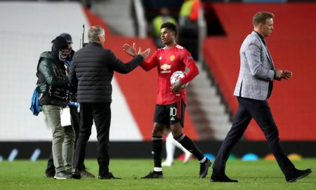 Man United boss applauds Marcus Rashford after the striker reaches 50 top-flight goals with an opener against Leicester.
