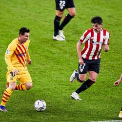 Lionel Messi scored twice as Barcelona came from behind to claim all three points with a 3-2 win at Athletic Bilbao.