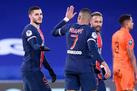 With two goals against Montpellier, Mbappe has now scored 14 Ligue 1 goals this season