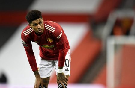 Marcus Rashford was substituted at half-time against AC Milan on Thursday night