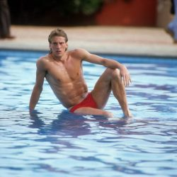 Posen für die Journaille bei der WM 1986 - Uli Stein.