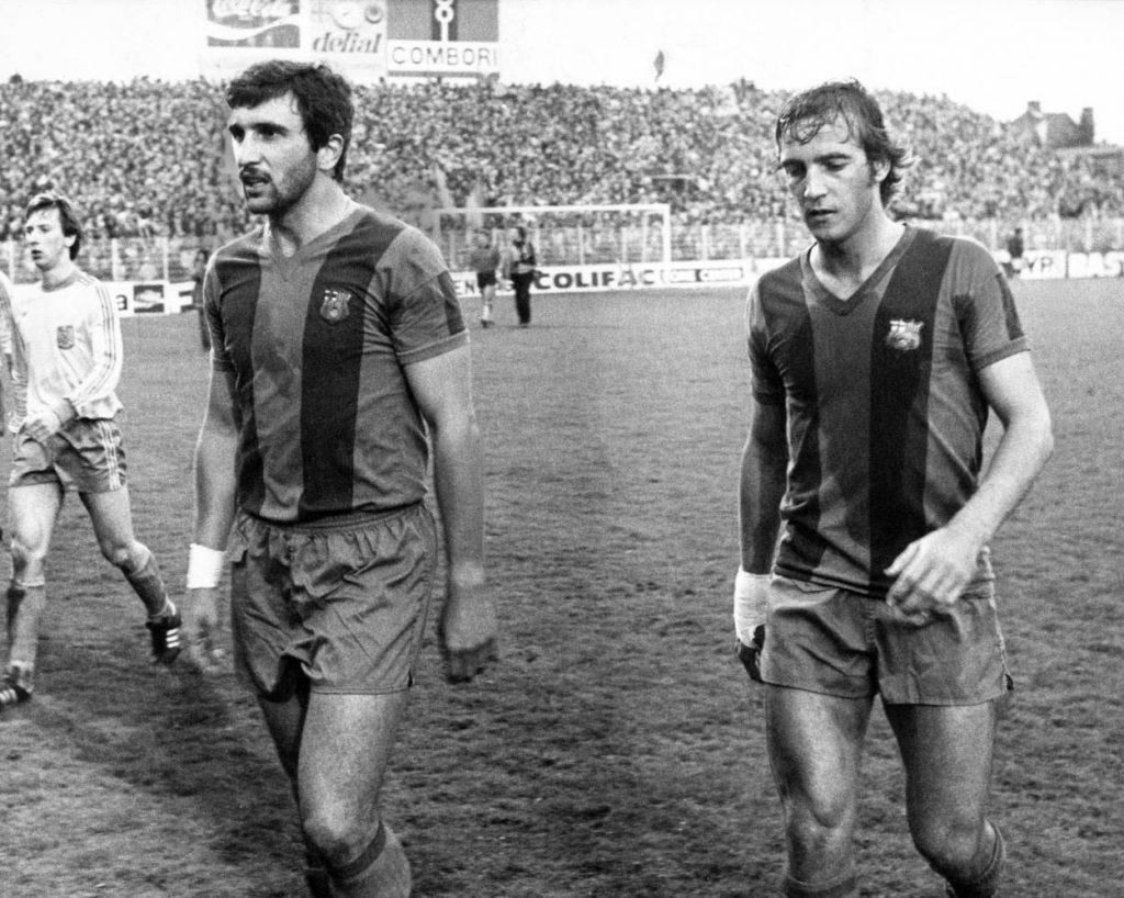 Hans Krankl (li.) mit Johan Neeskens im Trikot des FC Barcelona.