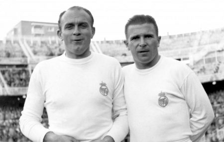 Alfredo di Stefano (li.) und Ferenc Puskas (re.) im Trikot von Real Madrid.